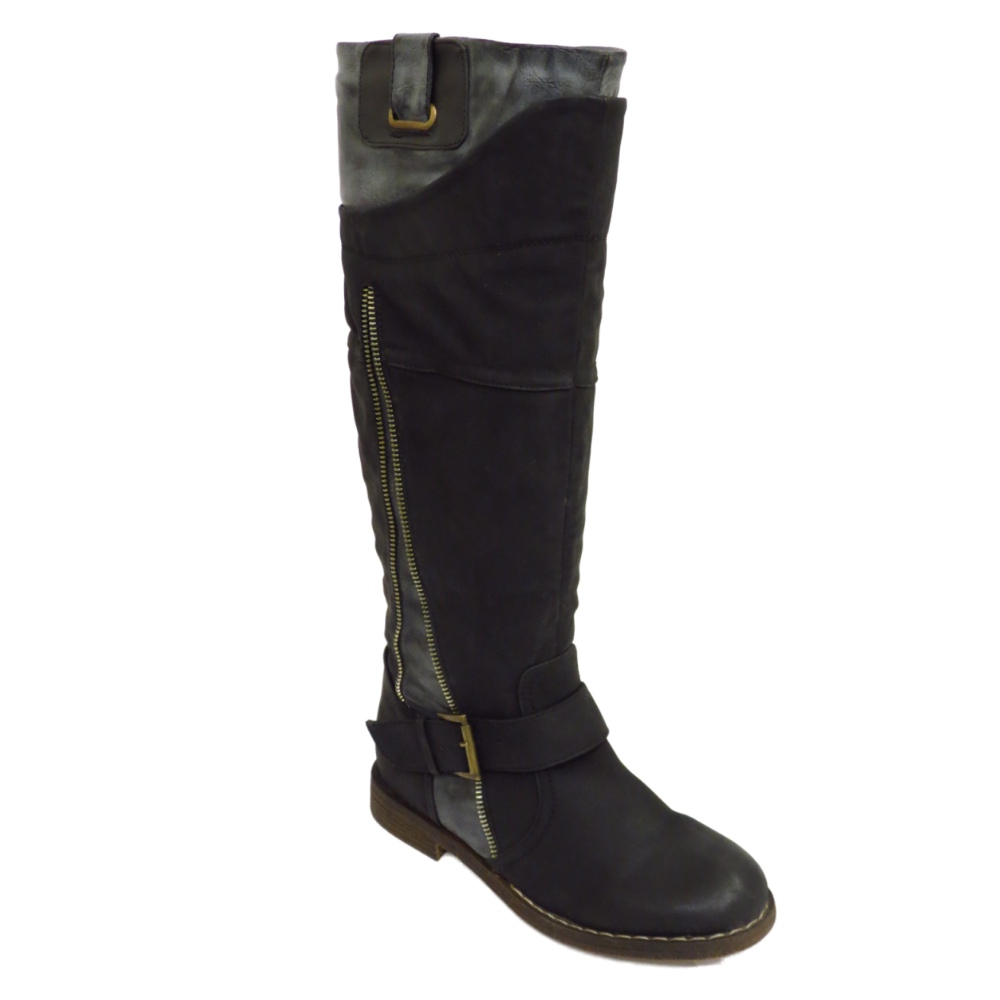 womens boots black grey flat knee high buckle biker