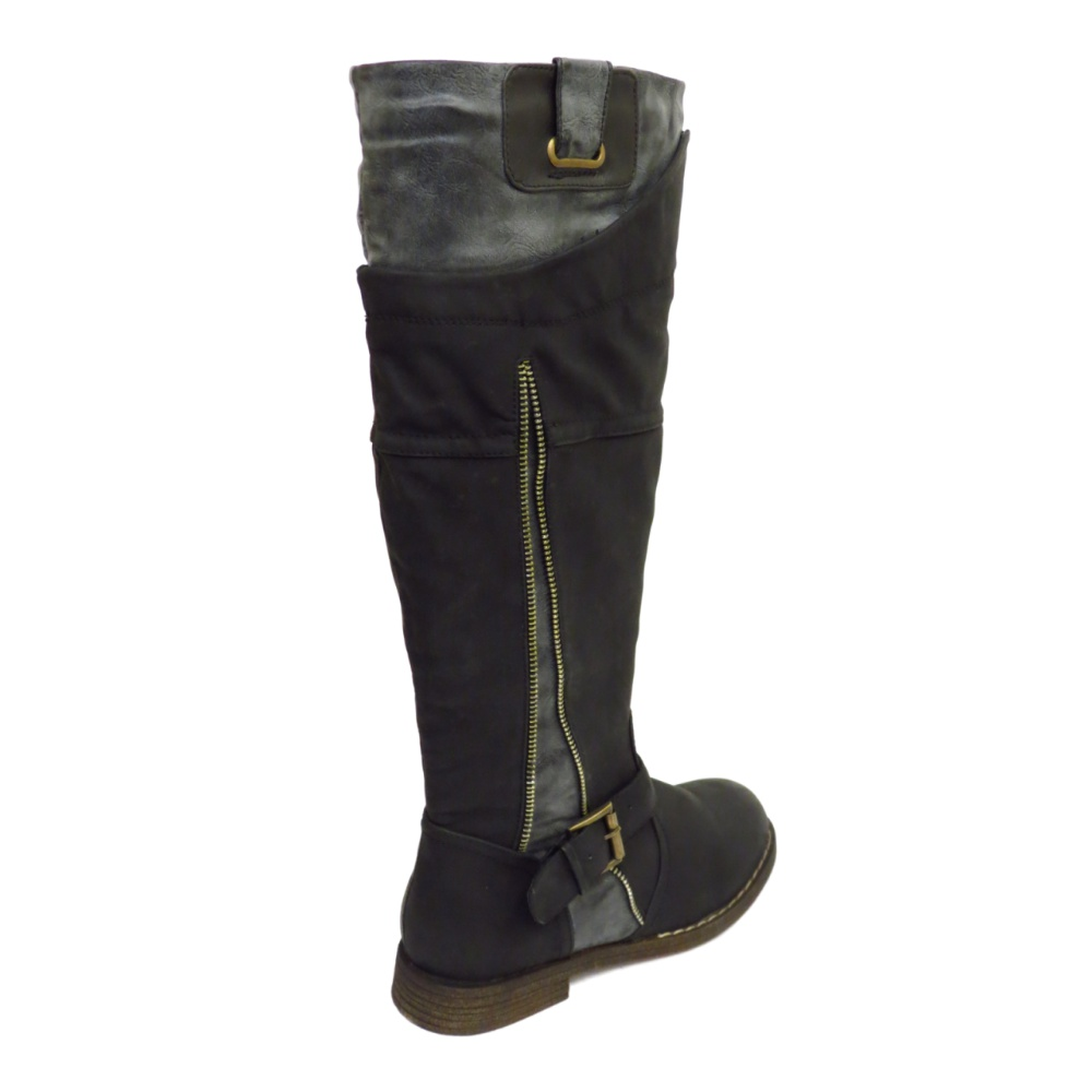 womens boots black grey flat knee high buckle biker