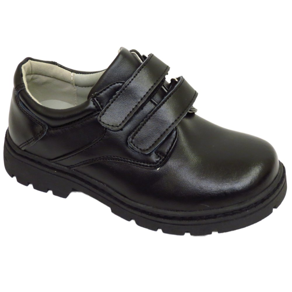 boys childrens black leather school velcro comfort
