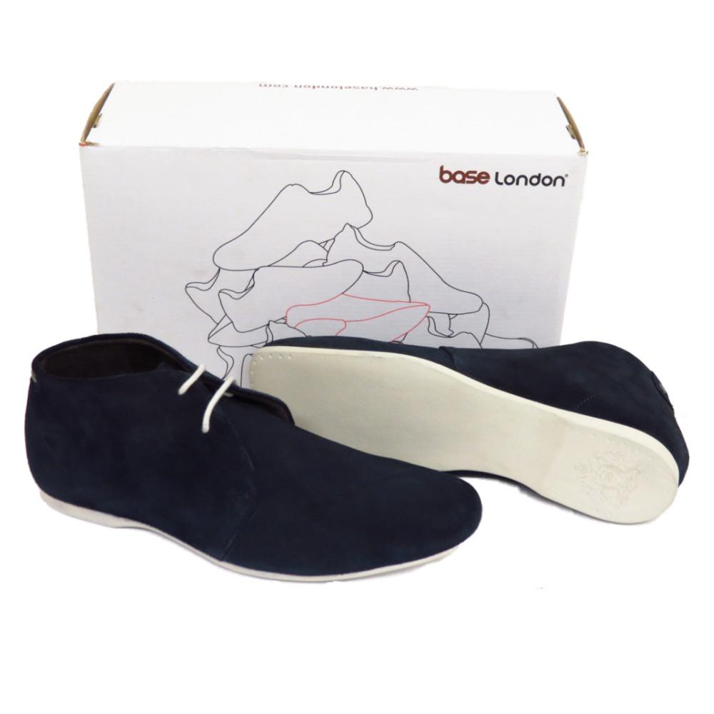 Homme Base London Zone Gris Bleu Marine Daim Cuir Chaussure Lacée Cheville Bottes taille de chaussure