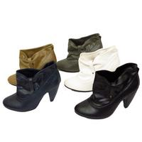 View Item LADIES SLIP-ON RUCHED WOMENS SLOUCH ROUND-TOE ANKLE BOOTS SHOES SIZES 2-8