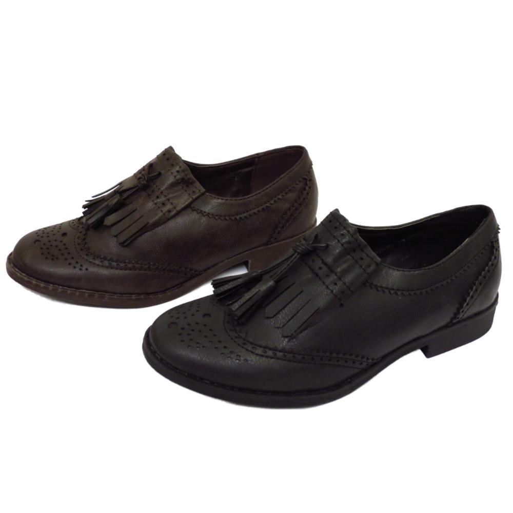 womens black or brown flat tassle oxford brogue retro