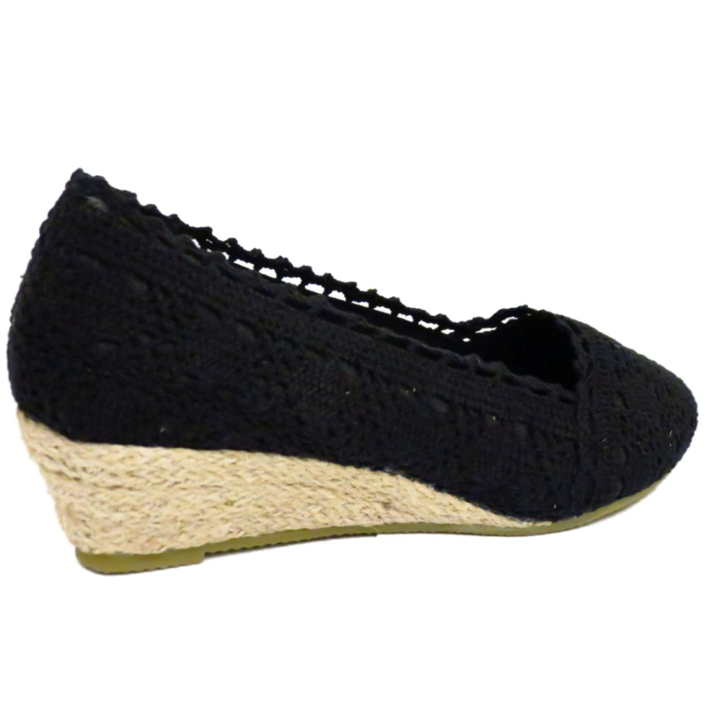 LADIES BLACK CROCHET SUMMER SLIP-ON HESSIAN WEDGE KITTEN HEEL ...