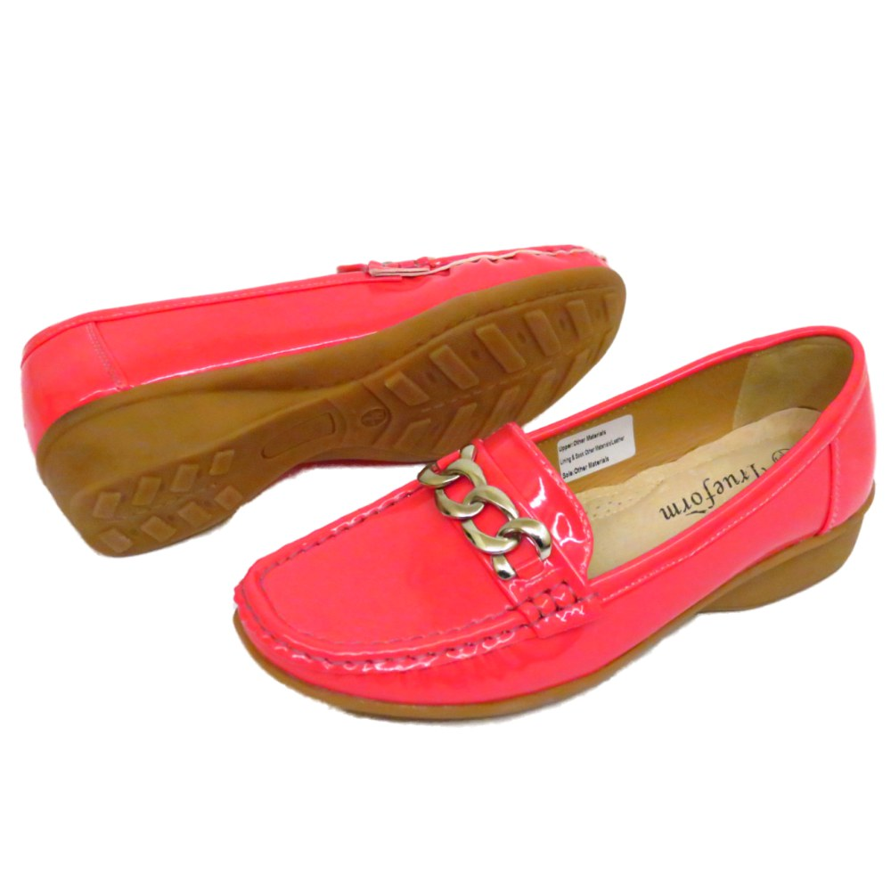 Señoras Coral Patente Trueform confort Kitten Cuña Slip-on Mocasines 3-8
