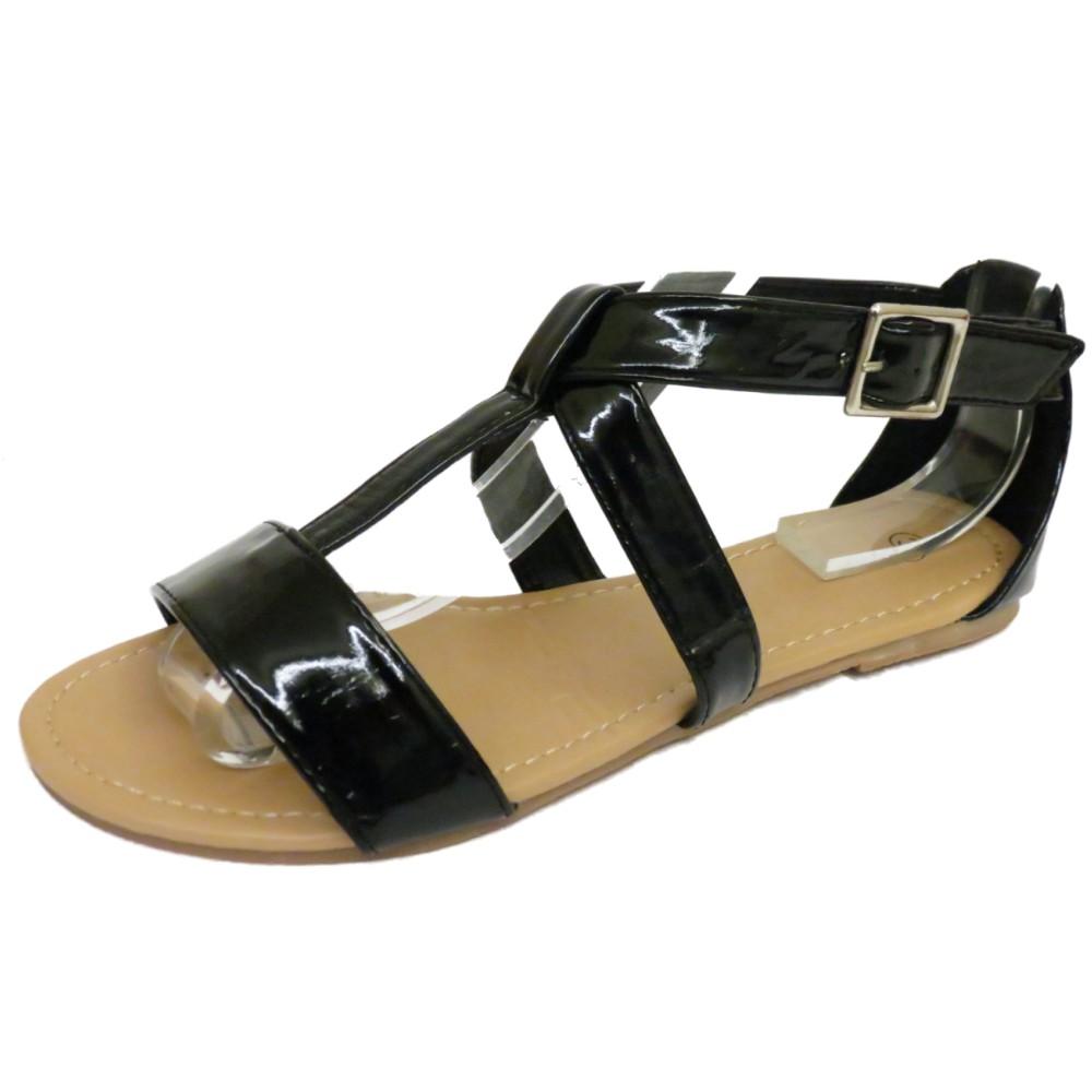 Mujer Plano Negro Gladiador De Tiras Sandalias Verano Chanclas Zapatos número