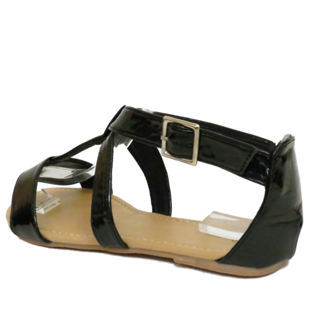 Señoras Gladiador Sandalias De Tiras Verano Negro Plano Chanclas Zapatos Tallas 3-8