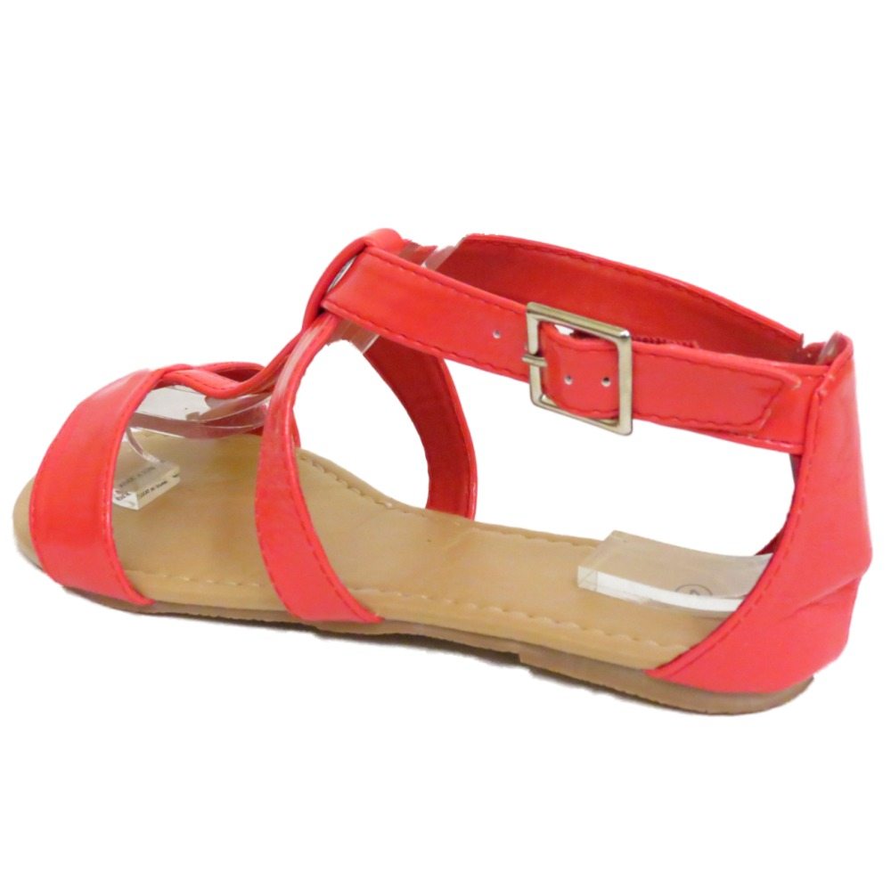Mujer Plano CORAL Gladiador De Tiras Sandalias Verano Chanclas Zapatos número