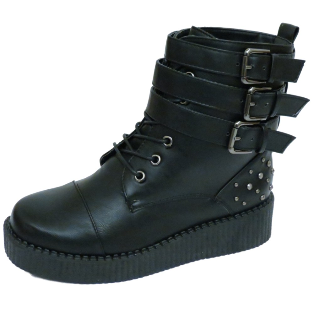 LADIES BLACK STUD GOTH PUNK PLATFORM CREEPER ANKLE LACE-UP BOOTS SHOES SIZES 3-8