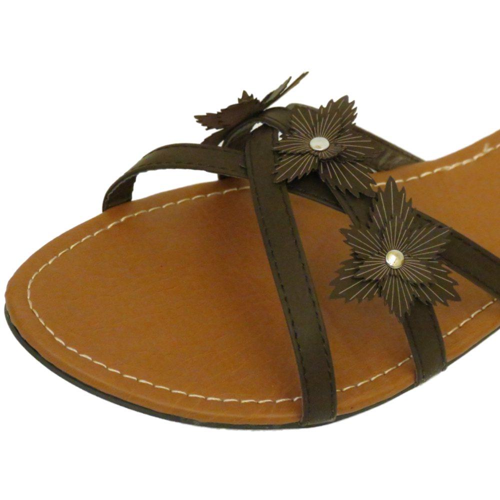 Señoras marrón Slip-on Sandalia Plana Flip-flop Verano Zapato grandes tamaños 9-13 UE 43-47