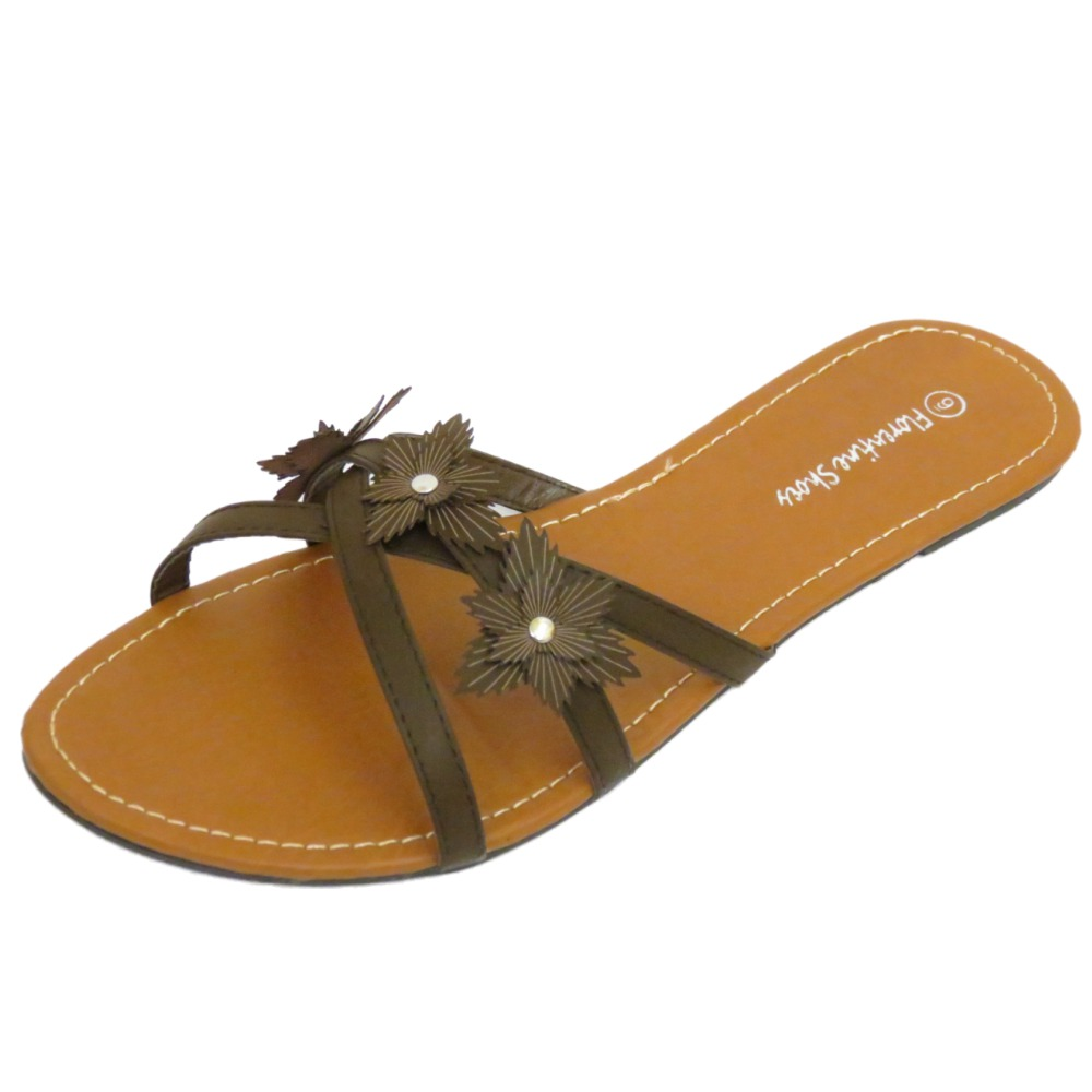 LADIES BROWN SLIP-ON FLAT SANDAL FLIP-FLOP SUMMER SHOE ...