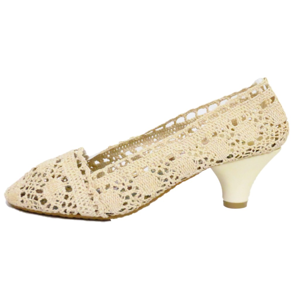 LADIES CREAM CROCHET KITTEN HEEL BALLERINA SLIP-ON WOMENS PUMPS