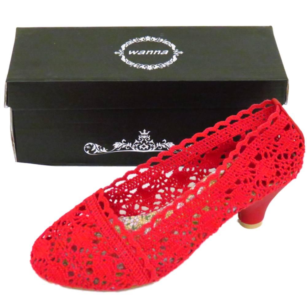 Señoras Roja Crochet Kitten Ballerina Slip-on Para Mujer Bombas Zapatos Tamaños 2-7