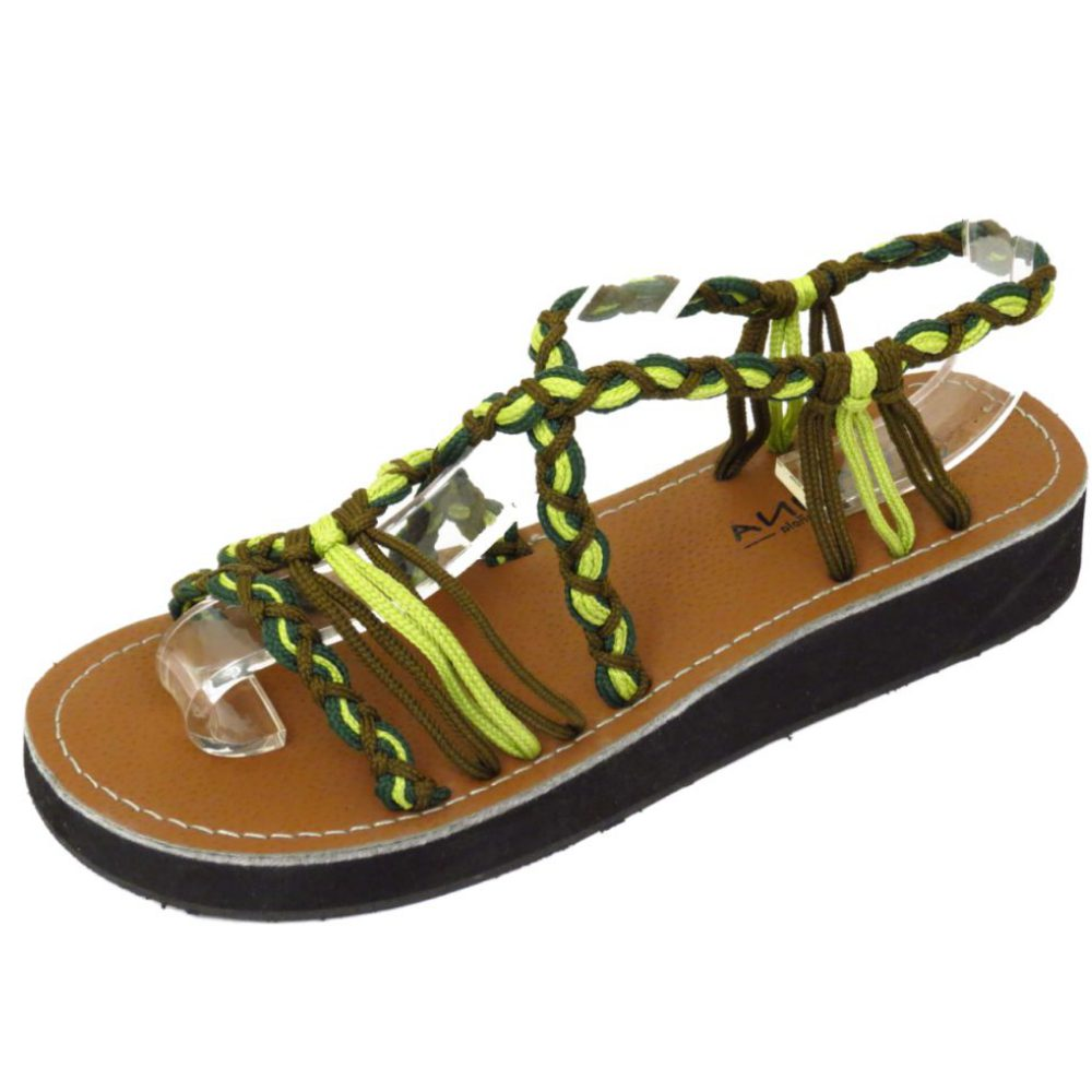 LADIES GREEN LOW WEDGE GLADIATOR STRAPPY SUMMER SANDALS ...