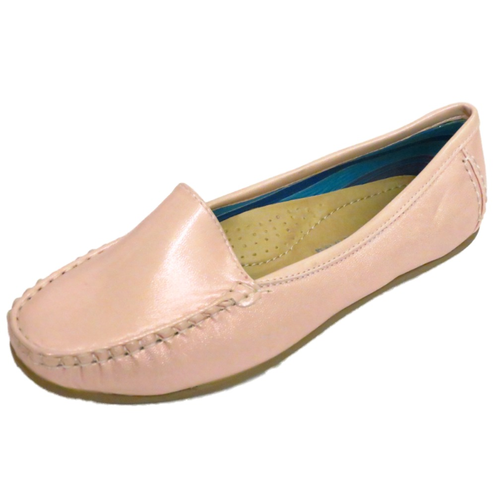 LADIES PINK PEARL SLIP-ON LOAFERS WOMENS COMFORT CASUAL MOCCASIN SHOES SIZES 3-7 | EBay