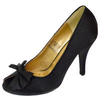 View Item LADIES SLIP-ON BLACK SATIN PEEP-TOE COURT STILETTO EVENING SHOES SIZES 3-8