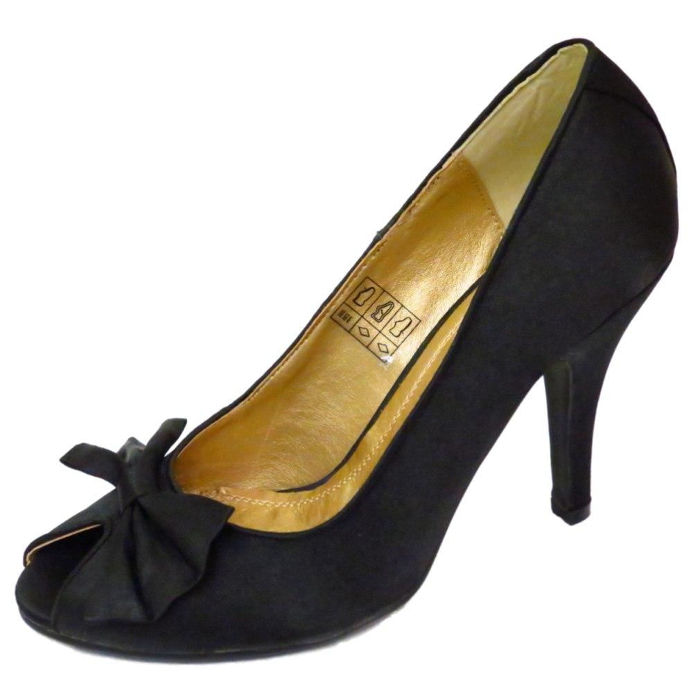 LADIES SLIP-ON BLACK SATIN PEEP-TOE COURT STILETTO EVENING SHOES SIZES 3-8