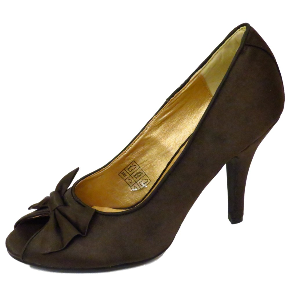 LADIES-SLIP-ON-BROWN-SATIN-PEEP-TOE-COURT-STILETTO-EVENING-SHOES-SIZES-3-8