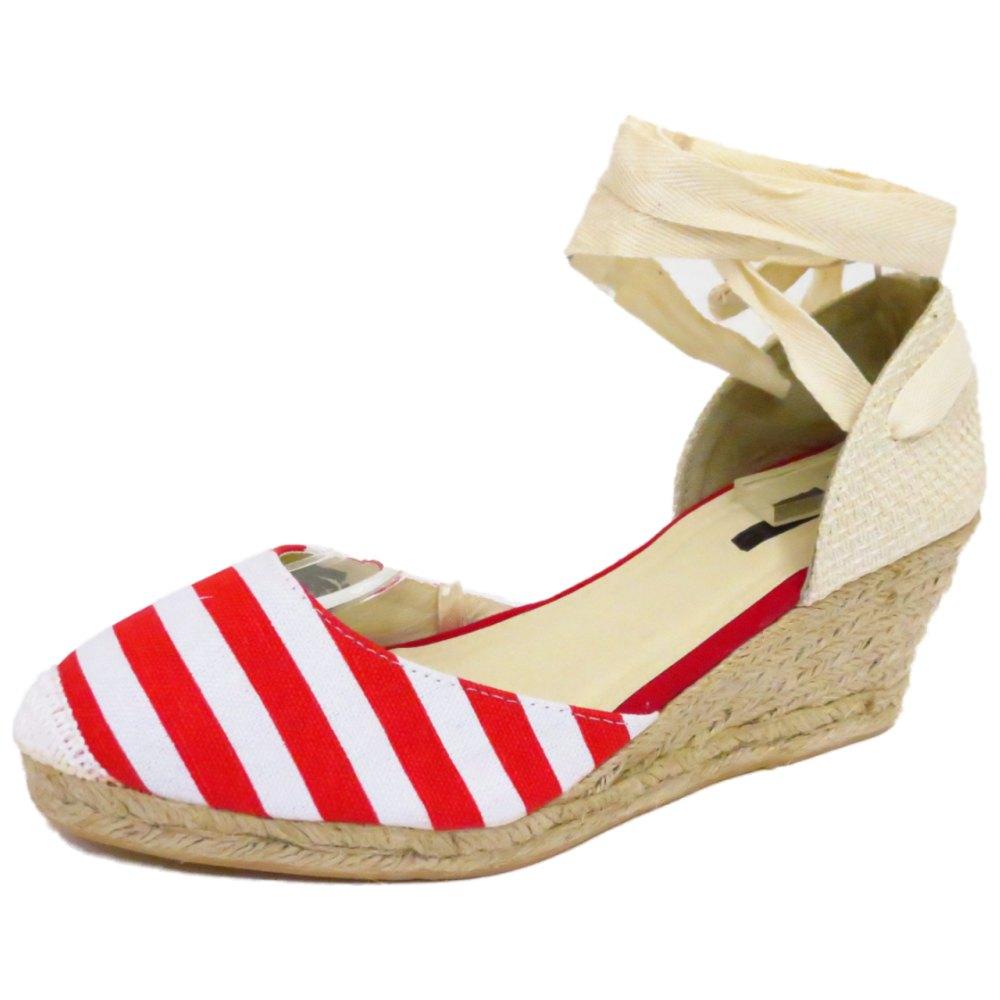 Señoras Rojo náutica a rayas de Hesse Verano Canvas Wedge Bombas Zapatos Tallas 3 A 8
