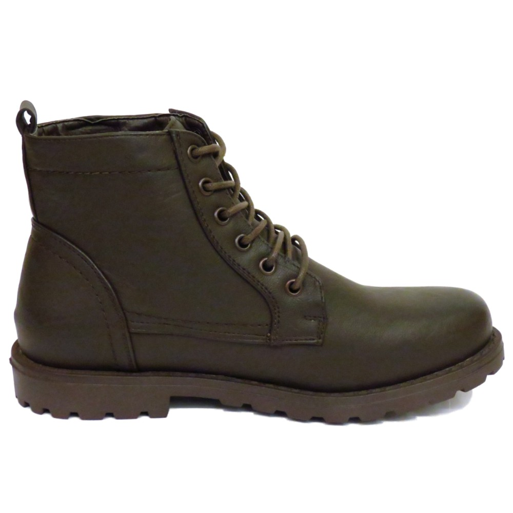 mens brown ex designer lace up combat army ankle