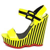 View Item LADIES DOLCIS NEON YELLOW BLACK STRIPE WEDGE PLATFORM STRAPPY SANDALS SHOES 3-8