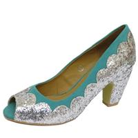 View Item LADIES DOLCIS TURQUOISE SILVER PEEP-TOE SEQUIN BLOCK-HEEL COURT SHOES SIZES 3-8