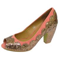 View Item LADIES DOLCIS CORAL BRONZE PEEP-TOE SEQUIN BLOCK-HEEL COURT SHOES SIZES 3-8