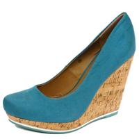 View Item LADIES DOLCIS TEAL SUMMER CORK WEDGE PLATFORM SLIP-ON COURT SHOES SIZES 3-8