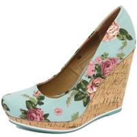 View Item LADIES DOLCIS BLUE FLORAL SUMMER CORK WEDGE PLATFORM COURT SHOES SIZES 3-8