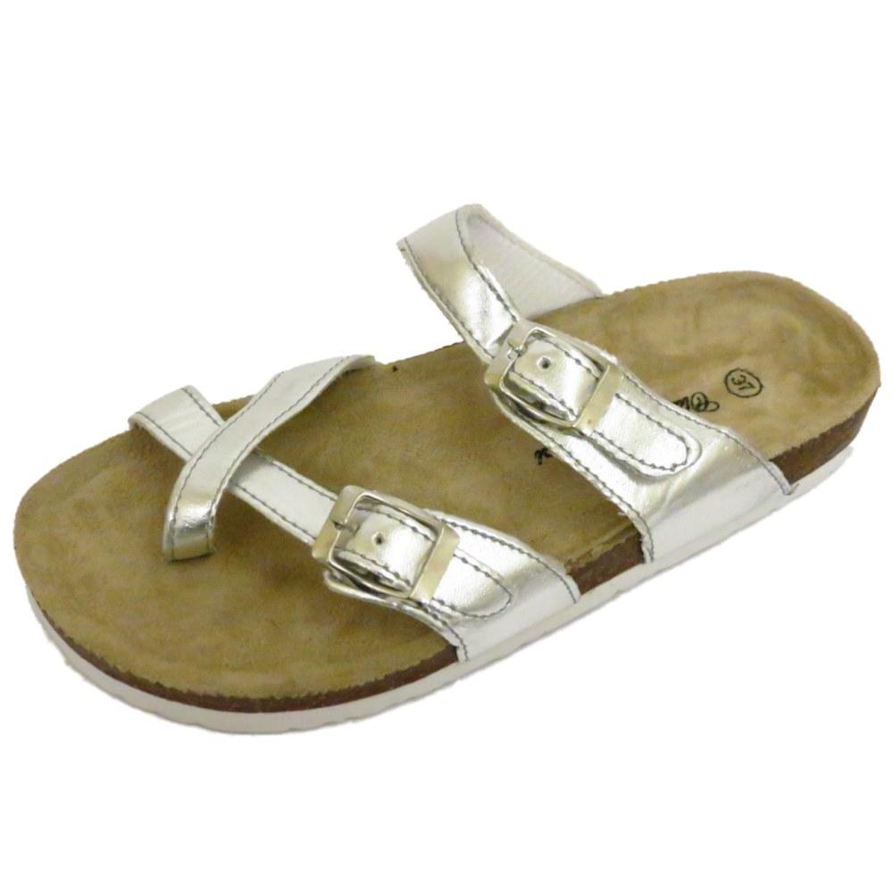 LADIES SILVER FLAT SLIP-ON TOE-POST SUMMER COMFORT SANDALS ...