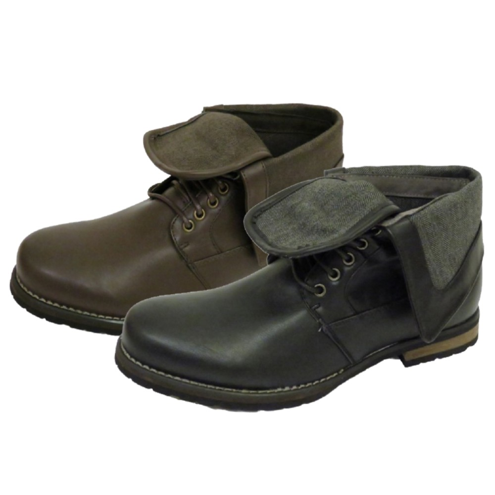 mens black or brown lace up fold ankle army