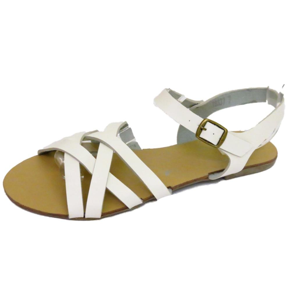 damen wei flach riemen gladiator sommer sandalen flip. Black Bedroom Furniture Sets. Home Design Ideas