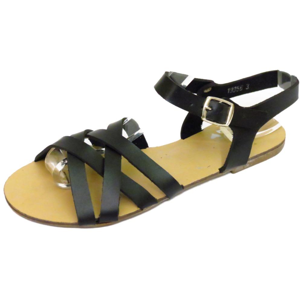 black flat strappy gladiator summer sandals flip