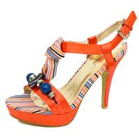View Item LADIES BURNT ORANGE SATIN STRAPPY SUMMER PLATFORM T-BAR SANDALS SHOES SIZES 2-7