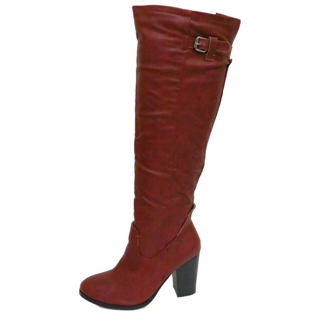dolcis burgundy knee high zip block heel