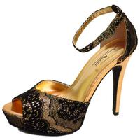 View Item LADIES GOLD BLACK PEEP-TOE STRAPPY EVENING PARTY PLATFORM SANDALS SHOES SIZE 3-8