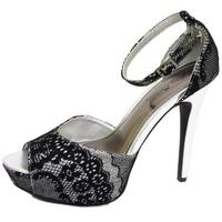 View Item LADIES SILVER BLACK PEEP-TOE STRAPPY EVENING PLATFORM SANDALS SHOES SIZE 3-8