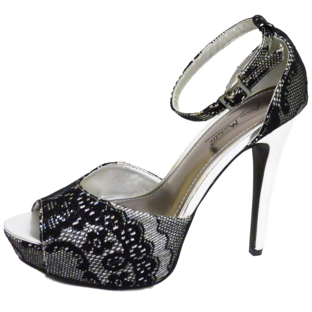 LADIES SILVER BLACK PEEP-TOE STRAPPY EVENING PLATFORM