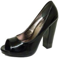 View Item LADIES BLACK PATENT SLIP-ON PEEP-TOE SMART WORK BLOCK-HEEL COURT SHOES SIZE 3-8