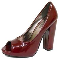 View Item LADIES BURGUNDY PATENT SLIP-ON PEEP-TOE SMART BLOCK-HEEL COURT SHOES SIZE 3-8