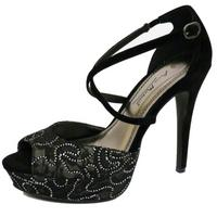 View Item WOMENS BLACK LACE DIAMANTE PLATFORM PROM PARTY STILETTO EVENING SANDALS SIZE 3-8