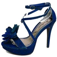 View Item LADIES BLUE GLITTER PLATFORM PEEP-TOE EVENING STRAPPY SANDALS SHOES SIZE 3-8