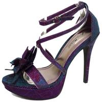 View Item LADIES PURPLE PEARL GLITTER PLATFORM PEEP-TOE EVENING SANDALS SHOES SIZE 3-8