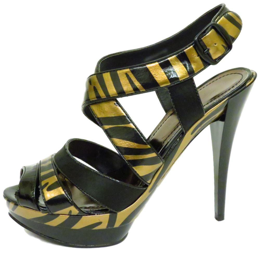 black gold zebra platform peep toe strappy