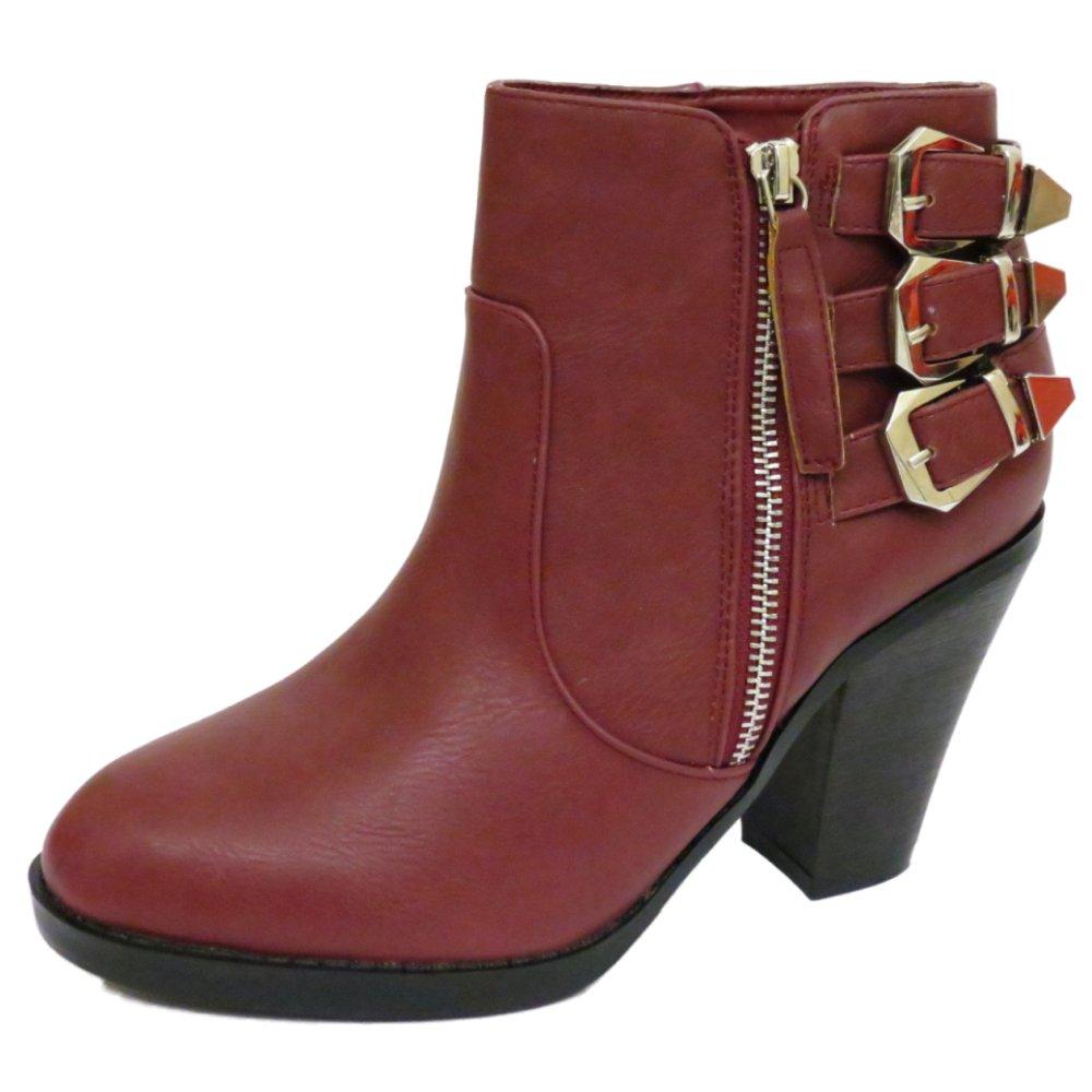 womens burgundy zip up ankle biker cowboy buckle