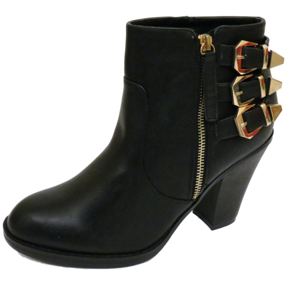 womens black zip up ankle biker cowboy buckle boots
