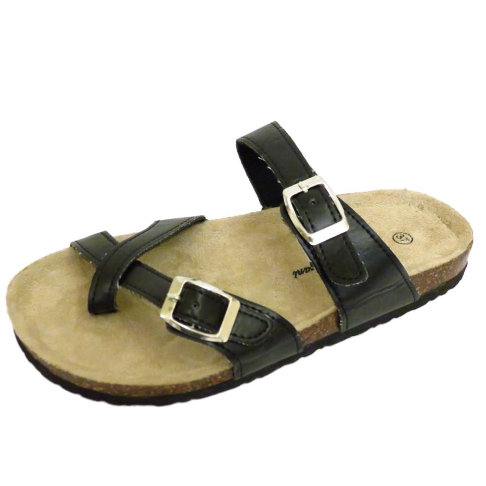 Black sandals holiday - Womens Flat Black Slip On Toe Post Comfy