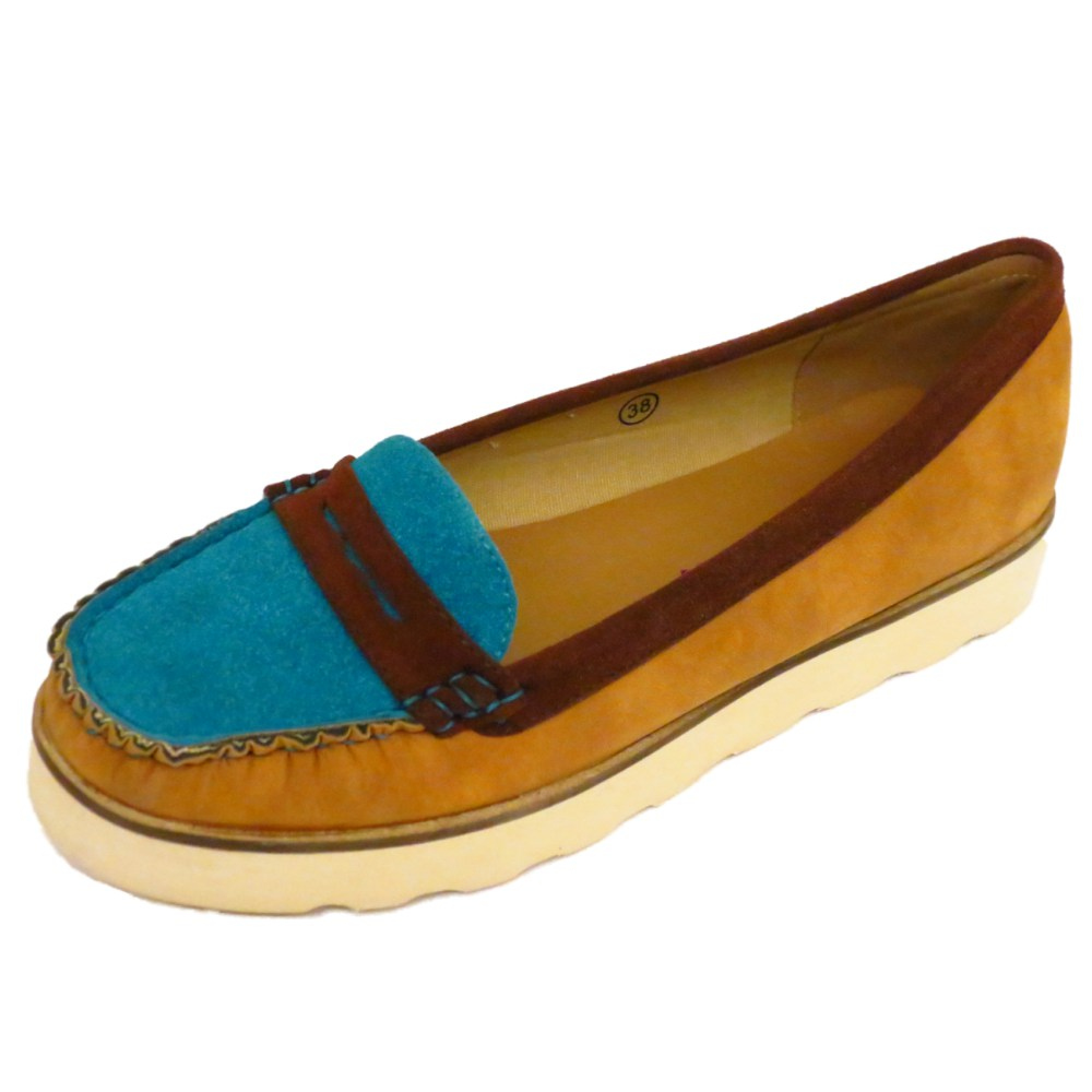 Tan Ladies Deck Shoes Wide Fit
