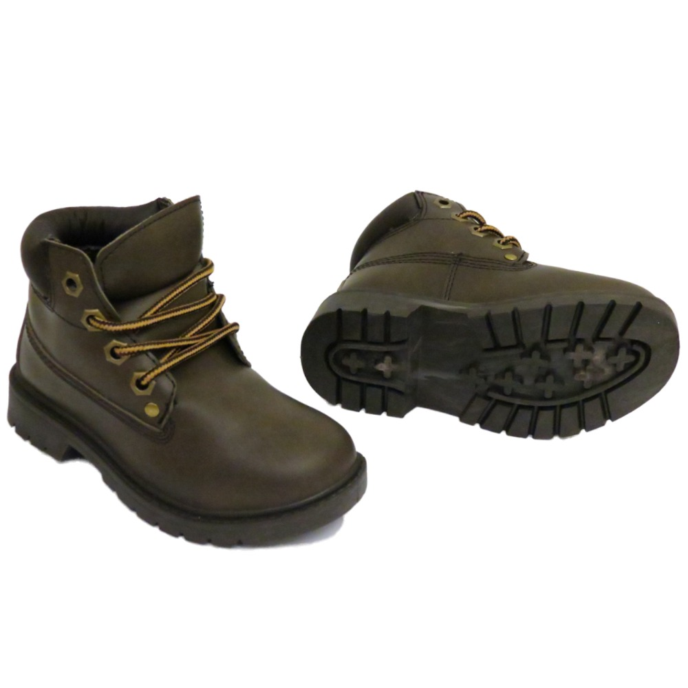 boys childrens brown winter warm lace up ankle boots