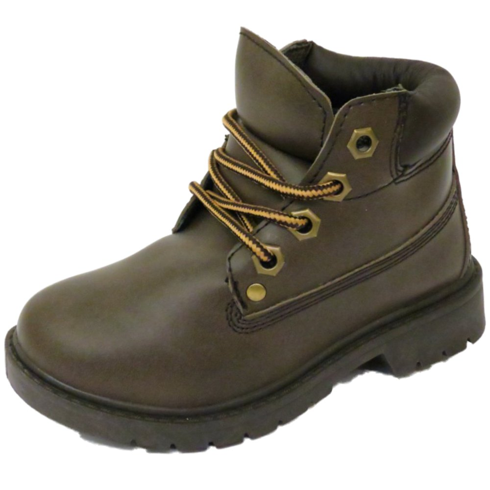 boys brown lace up ankle hiking style walking