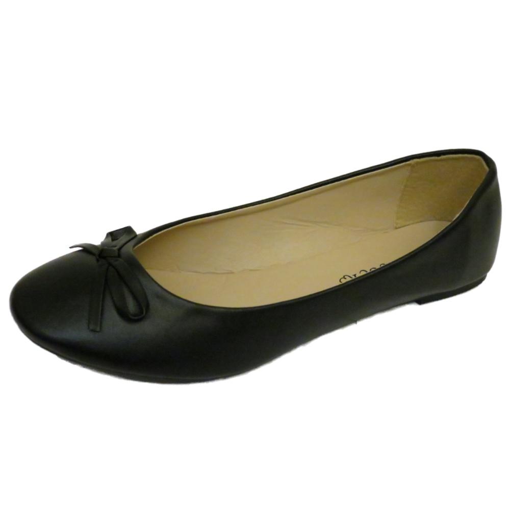 flat black slip on ballerina pumps dolly comfy work